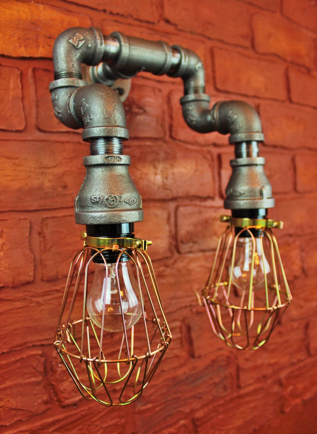 Pipe Lighting Brass Cages Wall Art Steampunk Industrial
