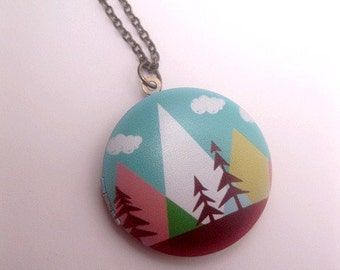 Nature Locket - Mountain Necklace - Forest Necklace - Image Transfer Locket - Art Necklace - Locket Necklace - Painting