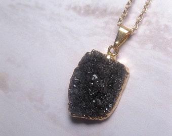 Amethyst Druzy Necklace - Raw Amethyst Crystal - Dark Amethyst Necklace - Drusy - Geode - Healing Crystal