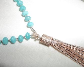 HERKIMER DIAMOND Tassell Pendant Necklace...Rose Gold...Aquamarine Beads...Chech Glass Beads...Resort  Beach Jewelry