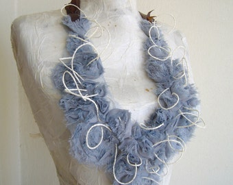 Fabric collar smoky gray with leather cord/romantic statement