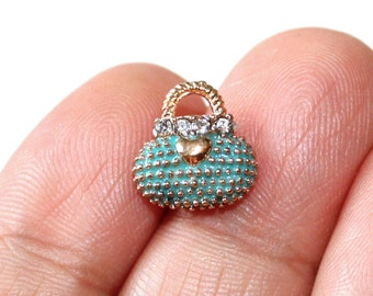 3 Purse Blue Enamel Gold Plated Charms with Rhinestones - EN119