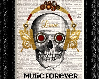 Skull in steampunk headphones, Music forever Funny poster, DICTIONARY Print, Book pages, Gift, Dorm home wall decor