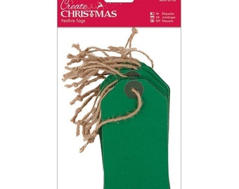 Packet Plain Gift Tags Green - Vintage Style Christmas Craft Decorate - 20 Piece