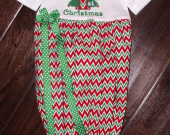 Boutique My First Christmas with Tree Gown Size Newborn 0-3M or 3 to 6 Months