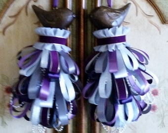 Plum Love Birds Decorative Tassel Ornament Set (2) Wedding, Bridal Shower, Engagement, Anniversary, Baby Shower Gift