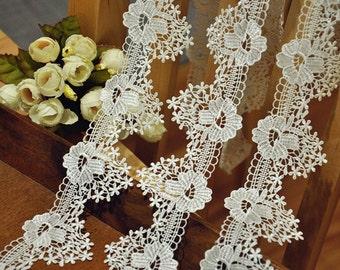 2 Yards Ivory Venise Lace Trim, Crochet  IvoryEmbroidery Lace Fabric Trim