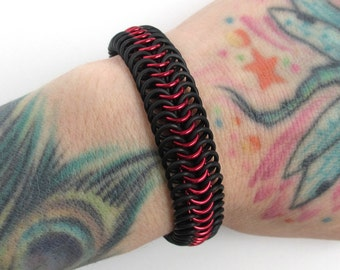 Red and black bracelet for men or women, stretchy chainmail bracelet, Euro 6 in 1 weave, rubber bracelet