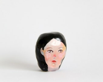 miniature head figurine, polymer clay, small collectible, sculpture, painted face