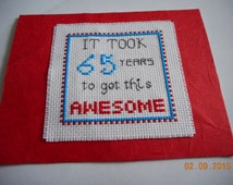 cross stitch BIRTHDAY card 65 years to get this awesome ready to ship Birthday Humor