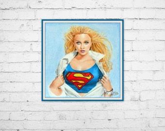 """Art Print 8""""x8"""", Smallville Supergirl colored pencil"""