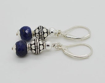 Sapphire Earrings With Sterling Silver Lever Back 02