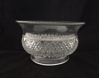 Vintage  Clear Glass Bowl, Clear Glass Bowl Diamond Pattern, 1950s, Fruit Clear Glass Bowl