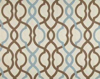 THROW PILLOW sham / cover 18x18 Blue Brown geometric lattice print