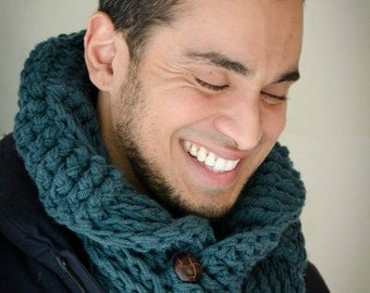 savvystuff basketweave shawl-collar cowl in hunter - for him or her