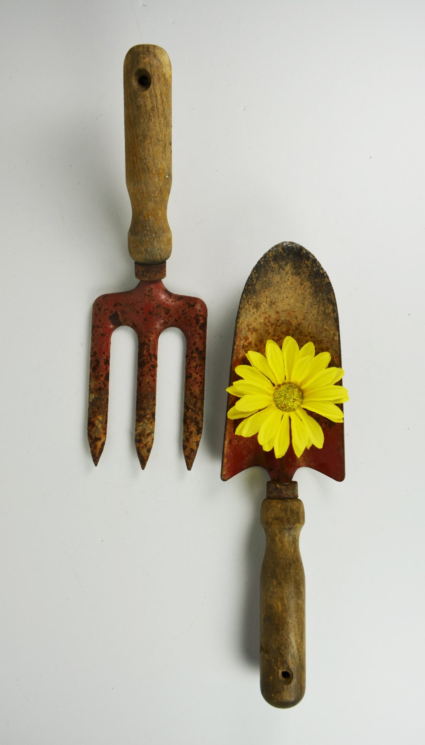 Vintage rusty wooden handle garden tools by for Gardening tools vintage