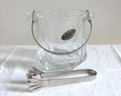 Ice Bucket Vintage Arte Murano Bomboniera Kristall with Handle and Tongs Italy, Barware