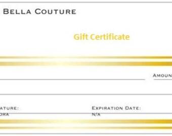 Gift Certificate 50 Dollars for Bella D'Andalora