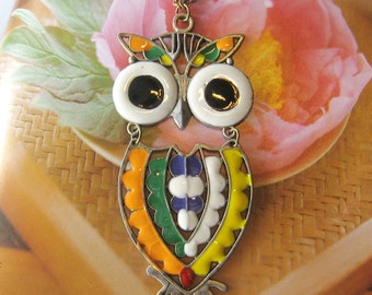Moveable big owl necklace (Long chain)