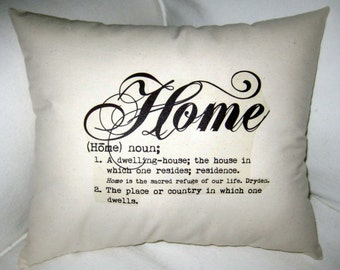 Home Pillow, Definition Pillow,  Cushion, Modern, Shabby Chic, Ivory Affordable Home Decor, Word, Neutral Home Decor, Definition Decor