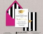 Black & White Stripe Graduation Invitation Gold Cap Modern Faux Foil Grad Announcement FREE PRIORITY SHIPPING or DiY Printable- Kendall