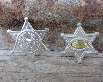 Lot of 2 Vintage Toy Metal Sherrif Badges Thin Metal Cheap Tin Toy 1960s Era 60s Vintage Toy Cowboy or Police vtg Badges Metal Pin Button