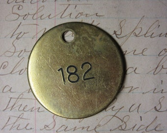 Number Tag Vintage Jewelry Charm Brass Number 182 Tag #182 Tag Industrial Tag Address Number Apartment Number Key Keychain Fob Special Date