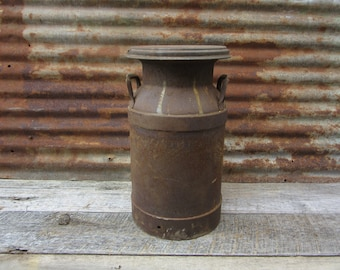 Metal Can Industrial Steel Milk Can Vintage Dairy Can Antique Farm Fresh Rustic Decor Industrial Decor Tractor Stool Seat  Rusted Rusty