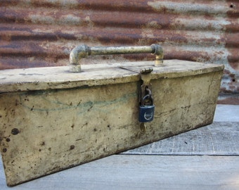 Antique Home Made Metal Tool Box Working Lock and Key Distressed  Aged Cream Metal Industrial Industrial Decor Storage Organization Rustic