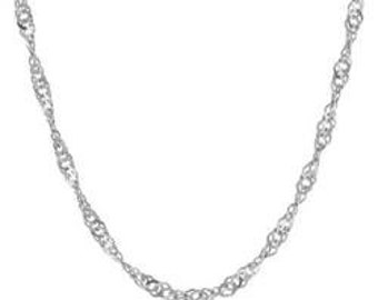 Sterling Silver SINGAPORE Polished 040 Chain Necklace 2.4 mm