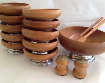 Vintage 1960s Hellerware 15 Piece Wood Salad Bowl Set