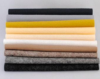 100 Percent Wool Felt Sheets - 'Modern Neutrals' colour range - 10 pieces