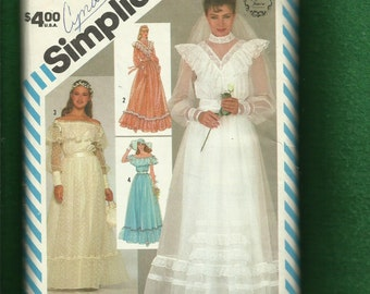 Vintage 1983 Simplicity 6361 Gunne Sax Wedding Gown Western Chic Loads of Ruffles and Lace Size 10