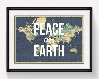 Christmas Decor, Peace on Earth, World Map Print, Christmas Print, Christmas Poster, World Map Poster, Holiday Sign, Holiday Decor, Peace