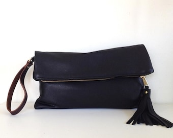 Black leather clutch bag, leather fold over clutch purse, black evening bag