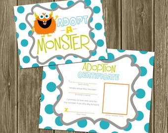 Monster Party - Adopt a monster sign and certificate