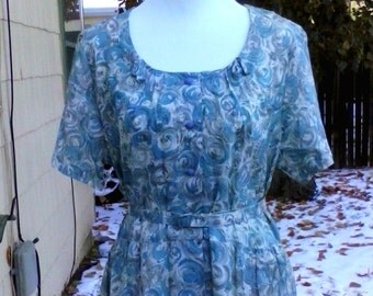 Vintage 1940s 1950s Blue Grey Atomic Print Roses Day Party Dress Rockabilly VLV XL NOS