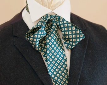 Teal Blue Diamond Pattern Vintage Italian Silk Victorian Bow Tie