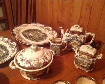 96 Piece Set Mason's Ironstone Dishes, Setting for 12 with Platters, Serving Bowls, Teapot, Creamer & Sugar, Gravy Bowl w Ladle
