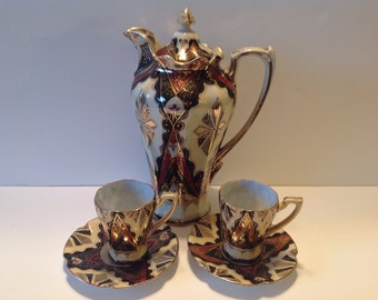 Elegant Vintage Hand Painted Chocolate Pot with 2 Cups and Saucers, TN Japan, Art Deco Design