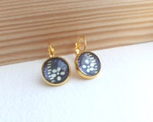 Navy Blue and Gold Leverback Earrings - Japanese Blossom Paper - 12mm Glass cabochon earrings - Navy Blue, Cream, Lilac & Gold