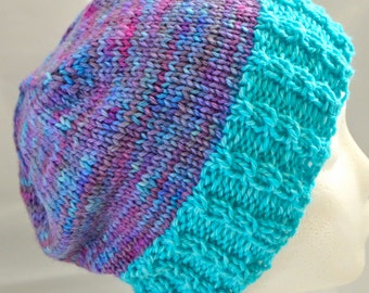 Slouchy Knit Beanie, Cabled Tam, Turquoise & Blue Beanie, Womens Beanie, Teen Beanie, Ski Hat, Warm Winter Hat, Cabled Hat, OOAK Hat