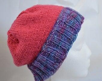 Slouchy Knit Beanie, Teen Hat,  Pink Beanie, Purple Hat, Hand Dyed, OOAK, Warm Winter Hat, Wool Beanie, Ski Cap, Slouchy Beanie for Teens