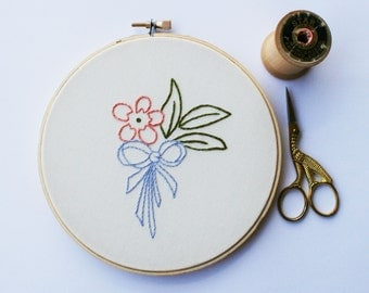 Vintage style hand embroidered pastel flower / periwinkle bow / peach flower / hoop art / 6 inch size