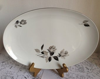 Cathedral Bavaria West Germany Silhouette Rose Pattern Serving Platter