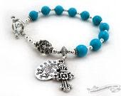 Miraculous Medal Rosary Bracelet, catholic rosary, blue rosaries, turquoise rosary, catholic bracelet, one decade rosary, catholic jewelry