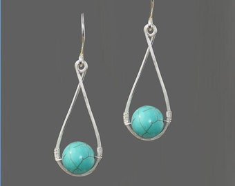 Sterling silver wiring turquoise teardrop earrings Bridesmaid gifts Free US Shipping handmade Anni designs