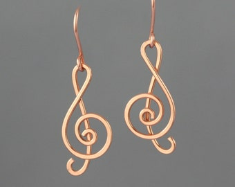 14k rose gold filled music note dangling earrings Free US Shipping handmade anni designs