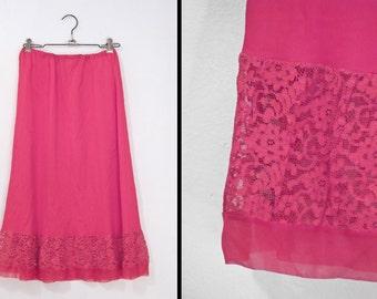 GERANIUM Pink Half Slip 50s Gilead United Mills Skirt Nylon with Lace