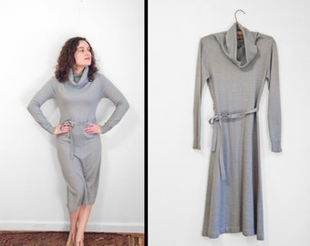 Periwinkle Cowl Dress 1970s Foxmoor Sky Blue Small Medium Long Sleeves